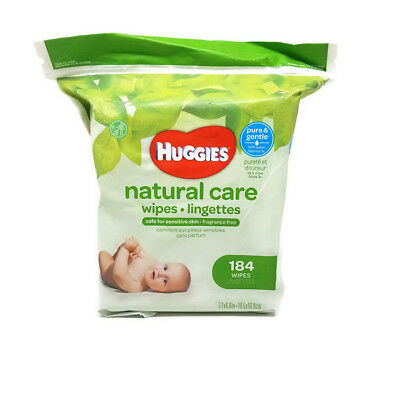 Huggies Natural Care Baby Wipes, Refill Pack, 184 Sheets Total, Fragrance Free,