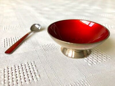 Danish silver salt bowl and spoon - red enamelled, excellent condition.