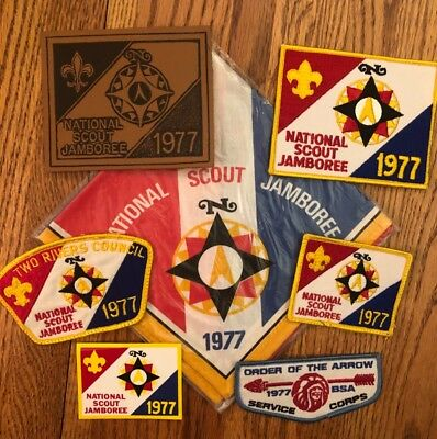 1977 Jamboree OA Service Corps Neckerchief Decal Leather & Patches