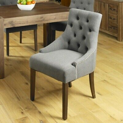 Grand Walnut Wood Furniture Modern Grey Upholstered Luxury Dining Chairs PAIR