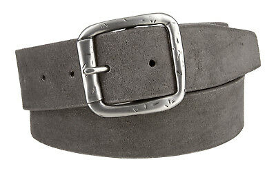"""LEJON Men's Casual Jean Suede Leather Belt 1-1/2"""" wide Gray - Made in USA"""