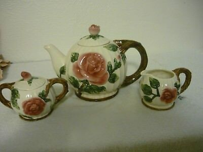 OMNIBUS By Fitz And Floyd 1995 Three Pcs. Tea Set With Embossed  Red Roses