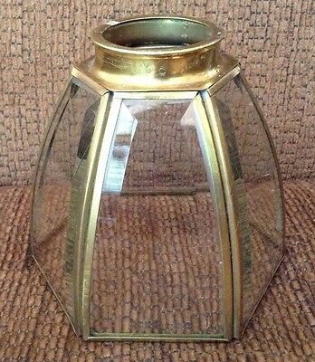 VTG Brass Curved Clear Beveled Glass Light Fixture Shade Globe Ceiling Fan
