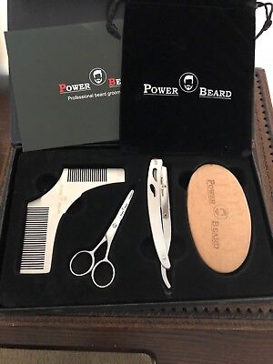 Power Beard Premium Beard Mustache Grooming Trimming Kit, Gift Set, Velvet Bag