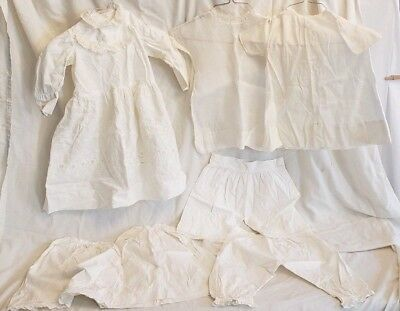 LOT OF VINTAGE 1900's CHILD'S OR DOLL VICTORIAN WHITE DRESSES, SKIRTS & BLOOMERS