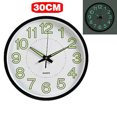 12'' Wall Clock Glow In The Dark Night Light Quartz Indoor/Outdoor Noctilucent