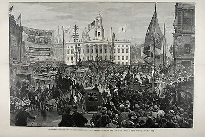 NEW YORK City Brooklyn City Hall Borough Pres Cleveland Huge 1880s Antique Print