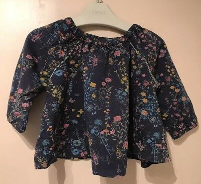Next Baby Girls Blouse Top T Shirt Long Sleeve Floral Dark Blue 6-9 M Butterfly