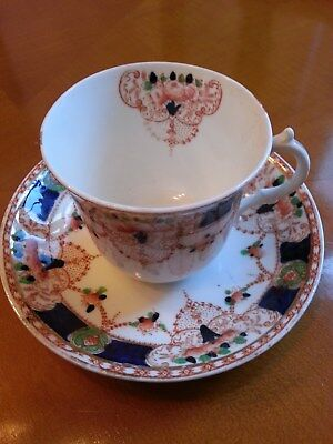 victorian? antique tea cup saucer decorative, blue gilt,unmarked, hand painted