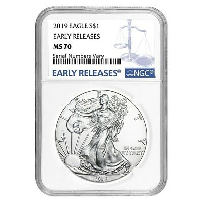 2019 1 oz Silver American Eagle $1 Coin NGC MS 70 Early Releases