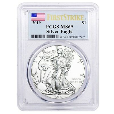 2019 1 oz Silver American Eagle $1 Coin PCGS MS 69 First Strike (Flag Label)