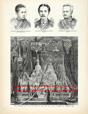 Thailand King Rami V Funeral of Queen Consort of Siam, Large 1880s Antique Print