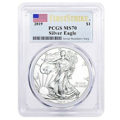 2019 1 oz Silver American Eagle $1 Coin PCGS MS 70 First Strike (Flag Label)