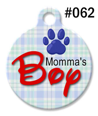 Custom Pet ID Tags for Dog & Cat, Personalized Cute BLUE Paw | Momma's BOY #062