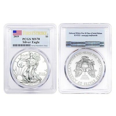 Lot of 2 - 2019 1 oz Silver American Eagle $1 Coin PCGS MS 70 FS (Flag Label)