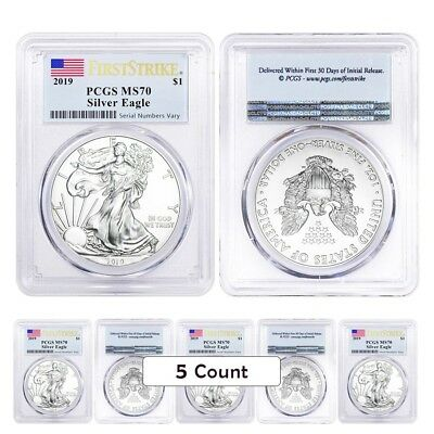 Lot of 5 - 2019 1 oz Silver American Eagle $1 Coin PCGS MS 70 First Strike (Flag