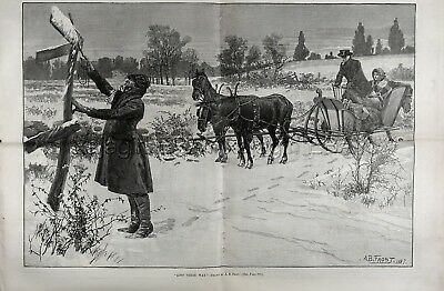 Winter Travelers Lost on Highway AB Frost, Huge Double-Folio 1880s Antique Print