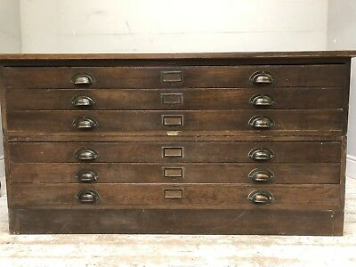 Antique Arts and Crafts Late Victorian Extra Large Plan Chest In Oak