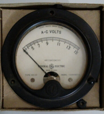 "15 VAC vintage analog panel meter GE MR35W015ACVV 3.5"" 15 volts AC"