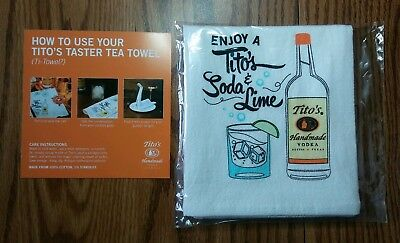 Tito's Vodka Taster Tea Bar Towel 2018 Holiday Premium - Embroidered 100% Cotton