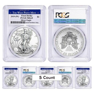 Lot of 5 - 2019 (W) 1 oz Silver American Eagle $1 PCGS MS 69 FS (West Point)