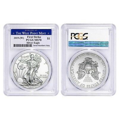 Lot of 2 - 2019 (W) 1 oz Silver American Eagle $1 PCGS MS 70 FS (West Point)