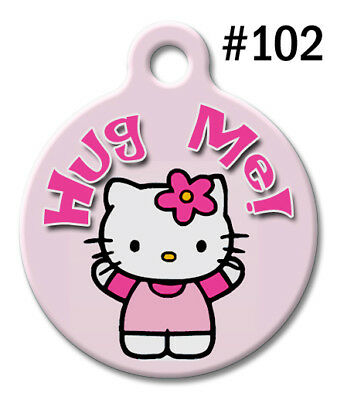 Pet ID Tags for Dog & Cat | Personalized Custom Pink Hello Kitty | HUG ME #102