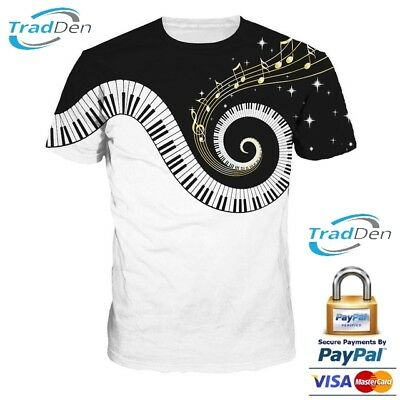 New 3D Men Women T-Shirt Psychedelic Piano Funny Fashion Casual All Size Summer