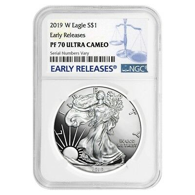 2019-W 1 oz Proof Silver American Eagle NGC PF 70 UCAM Early Releases