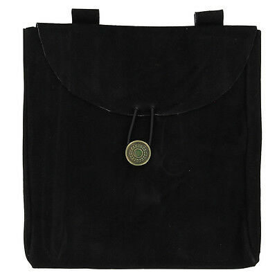 Medieval Renaissance Crusader Knight Leather Black Suede Pouch Large
