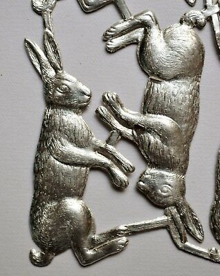18 x Oblate HASE silber geprägte Pappe 6x 3,5 cm Dresdner Pappe Streudeko Ostern