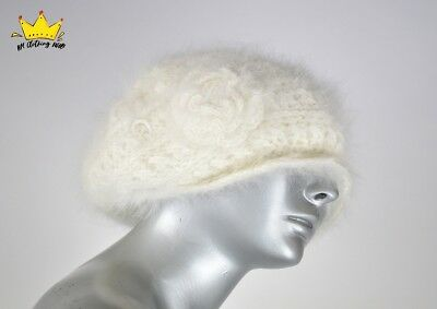 ANGIOLO FRASCONI Womens Cute White Wool Angora Slouchy Beanie Knitted Winter Hat