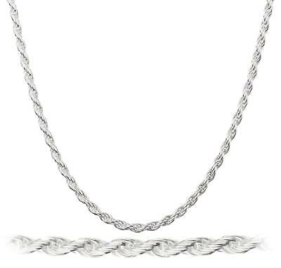 Sterling Silver Plated 2 Mm Rope 16, 18, 20, 24, 30 Inch Chain Necklace