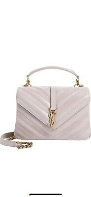 Authentic YSL Saint Laurent Medium College Shoulder Bag Rose Leather   Suede a75646022960d