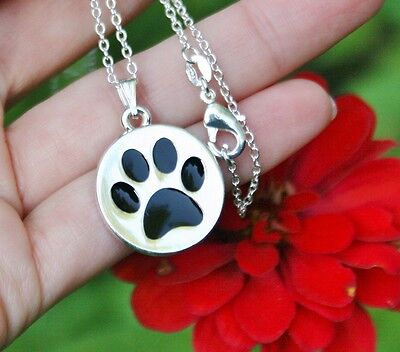 Paw Print Necklace Dog Cat Pet Lover Gift Charm Pendant .925 Sterling Silver Chn