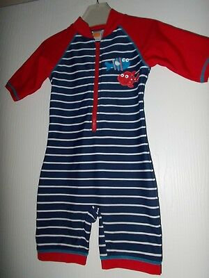 Mini Club Little Boys Fishes All In One Uv Swim Suit 18-24 Months Ex Cond