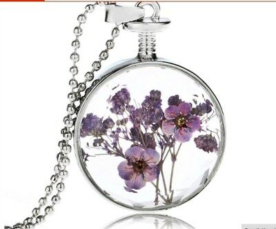 Vintage Handmade Silver Plated with Glass Dried Pressed Flower  GET IN 3 DAYS!