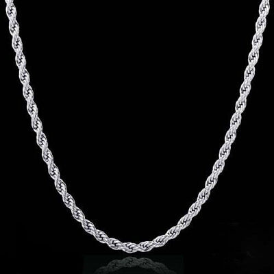 """925 Sterling Silver Plated anti-tarnish Rhodium Rope Necklace 2mm 16 through 30"""""""