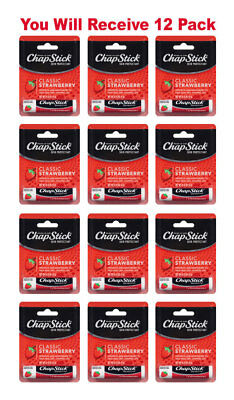 12x ChapStick Classic Skin Protectant Strawberry Carded Retail Packaging