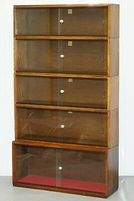 Five Section 1960's Simplex Medium Oak Stacking Legal Library Bookcase Glass