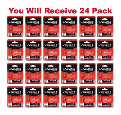 24x ChapStick Classic Skin Protectant Strawberry Carded Retail Packaging