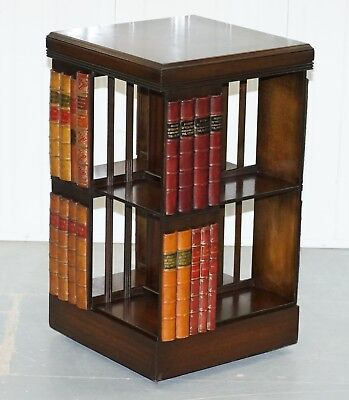 Stunning Vintage Mahogany Revolving Swivel Bookcase On Wheels With Faux Books