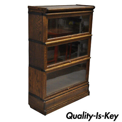 Antique Macey Oak 3 Section Stacking Lawyers Barrister Stack Bookcase