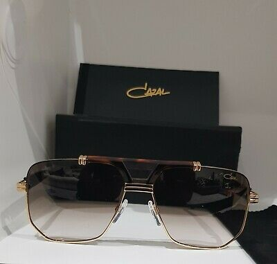 Cazal Legends 990 001 Gold Black Metal Aviator Sunglasses Grey Gradient Lens