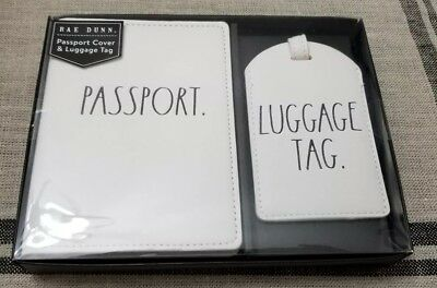 Rae Dunn Passport Holder Luggage Tag Large Black Letters Lettering NIP