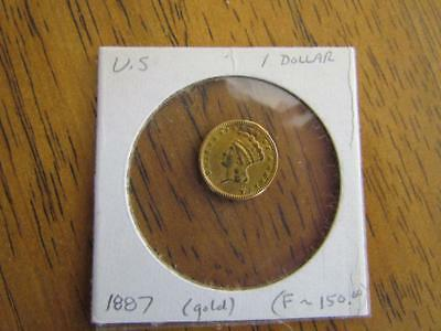 1887 One Dollar Gold Coin US