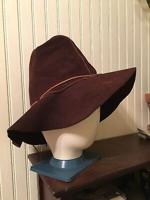 5aea62a0d33 Vintage 60s 70s Brown Suede Leather Floppy Bucket Hat Boho Hippie Festival  Large