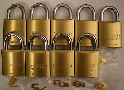 9 x ABUS 83/45 Brass 83 Series Padlock Without Cylinder 83IC/45 - New Open