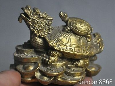 Chinese Feng Shui Brass Lucky Yuanbao money Wealth Dragon Tortoise Turtle Statue