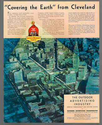 1934 Vintage Print Ad 30's outdoor advertising Sherwin Williams paints cleveland